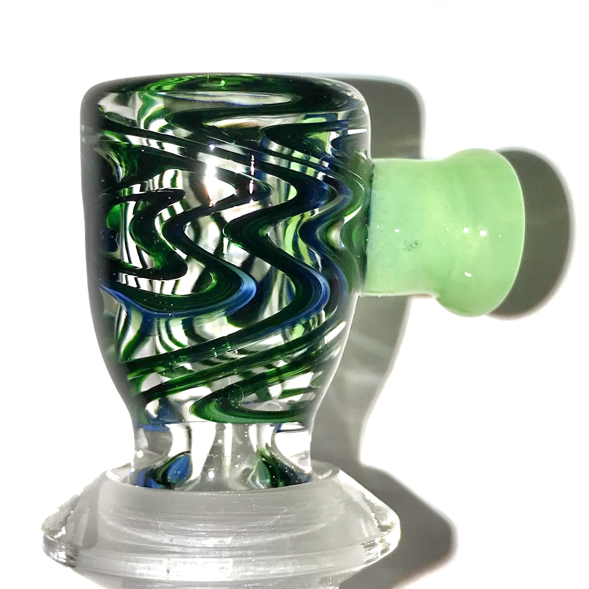 qfactorglass 18/14mm Custom Linework Downstem / Slide Set (Experimental Green) 5 Inches In Length