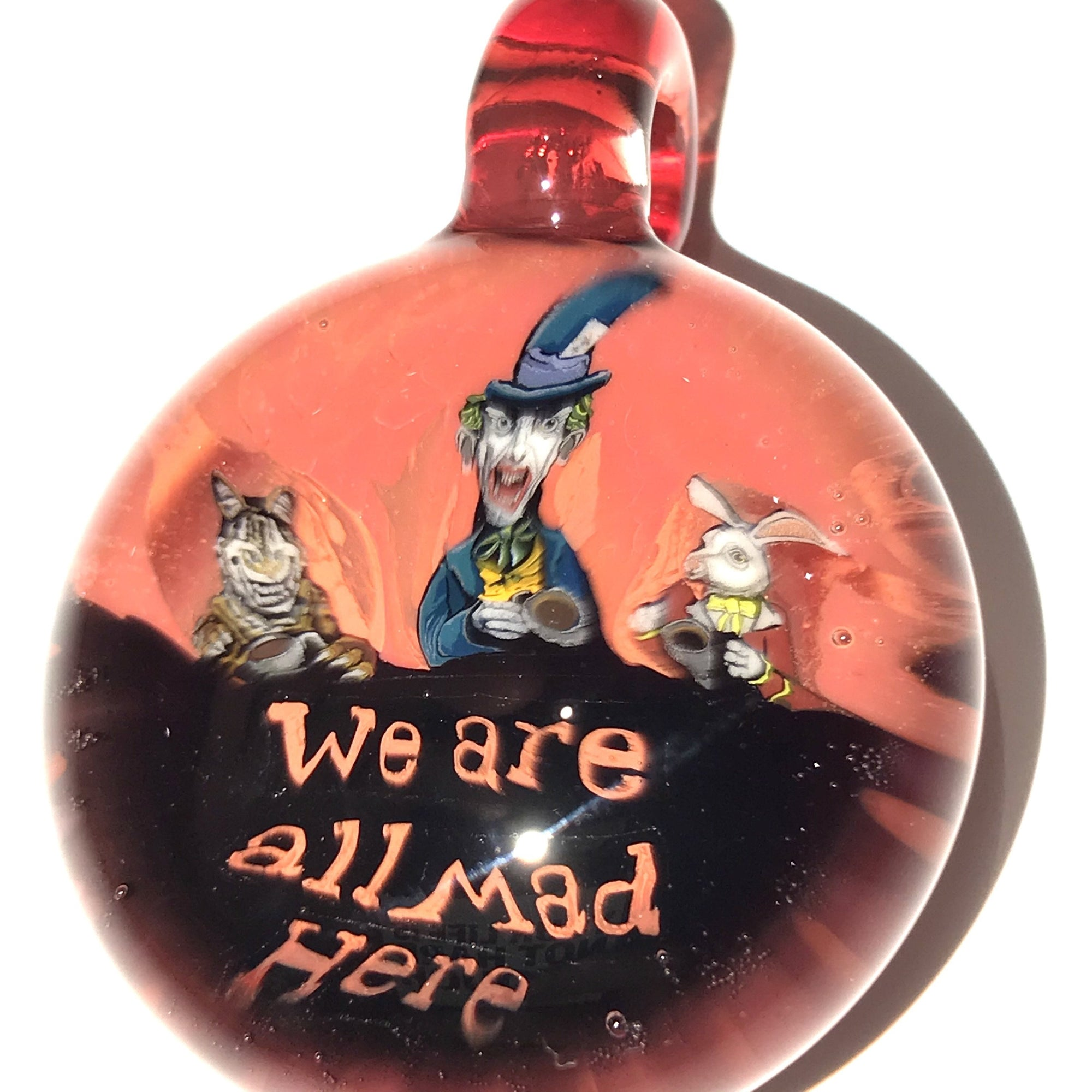 """We Are All Mad Here"" Mad Hatter Milli Pendant (Red/Pomegranate)"