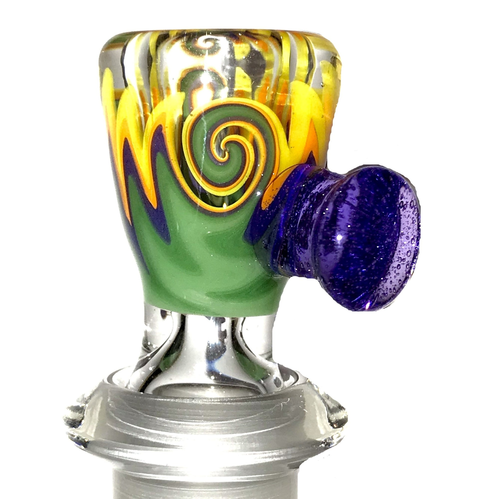 qfactorglass 18/14mm Custom Linework Downstem & Slide Set (Green/Purple/Orange/Yellow) 6 Inches In Length