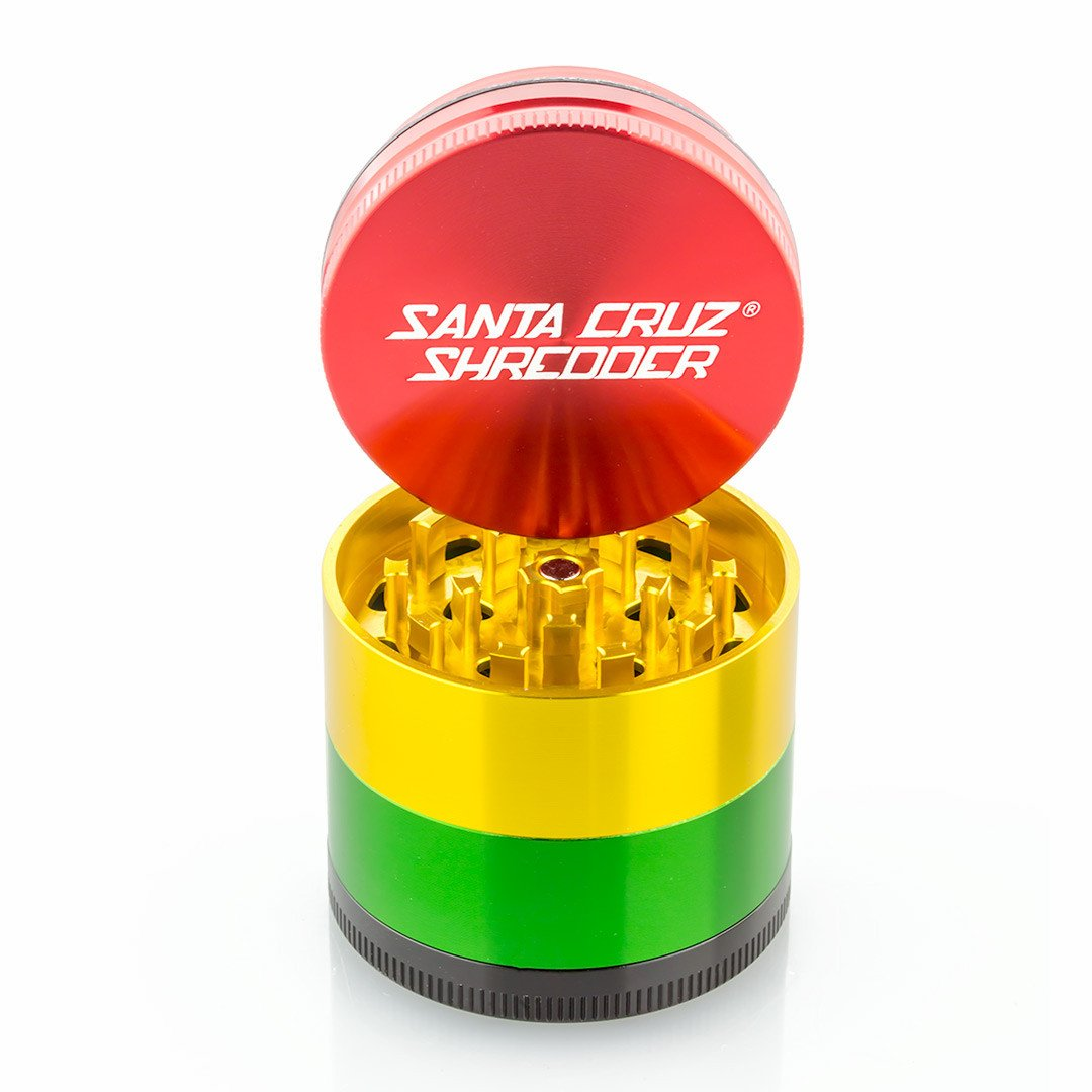 Santa Cruz Shredder Medium 4 Piece Grinder (Rasta) s