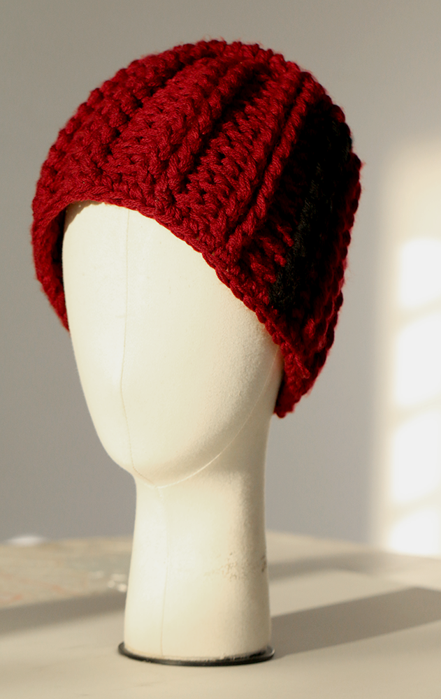 BOSHIES burgundy knit tarboush hat - One Size