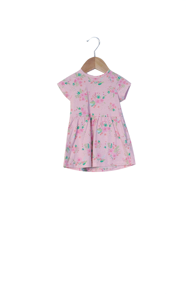 BABY GIRLS MOTHERCARE pink short sleeved dress with floral print - 1/3 months