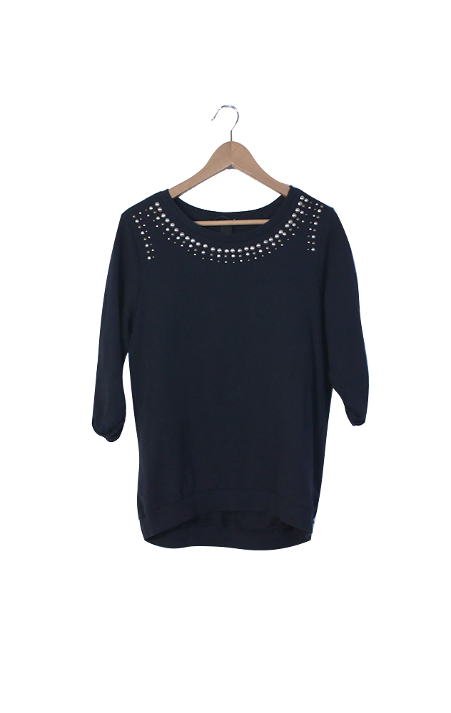 H&M navy sweatshirt with studded neck-line - S