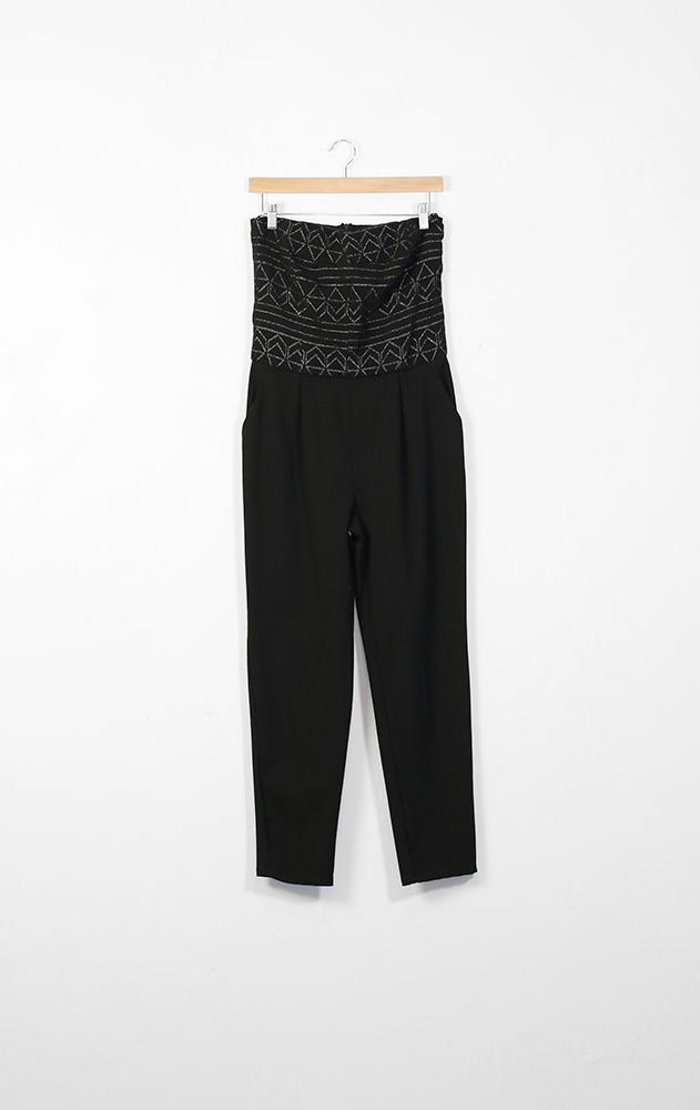 STRADIVARIUS black jumpsuit with silver detailed bodice - M