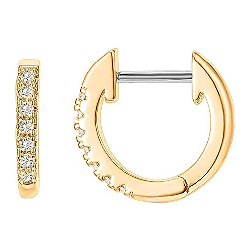RAYMOND'S BOUTIQUE 14K Gold Rose Gold Plated 925 Sterling Silver CZ Cubic Zirconia Pave Cuff Huggie Hinged Hoop Sleeper Stud Earrings: Jewelry