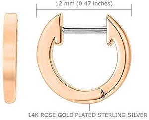 RAYMOND'S BOUTIQUE 14K Gold Rose Gold Plated 925 Sterling Silver Solid Cuff Huggie Hinged Hoop Sleeper Stud Earrings: Jewelry