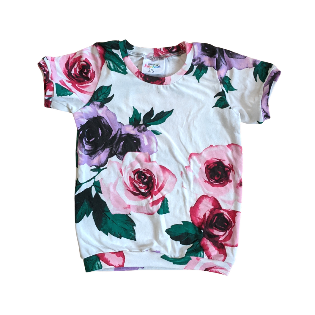 2T/3T - Logan Tee - Pink + Purple Floral (Ready to Ship)