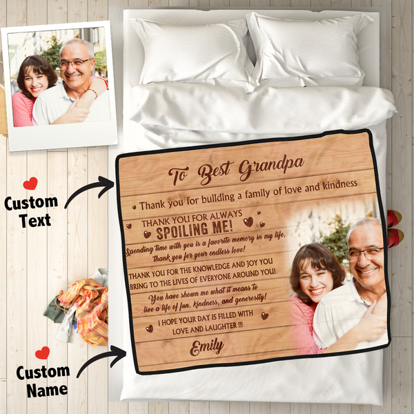 Custom Photo Fleece Blanket With Name - To Best Grandparents
