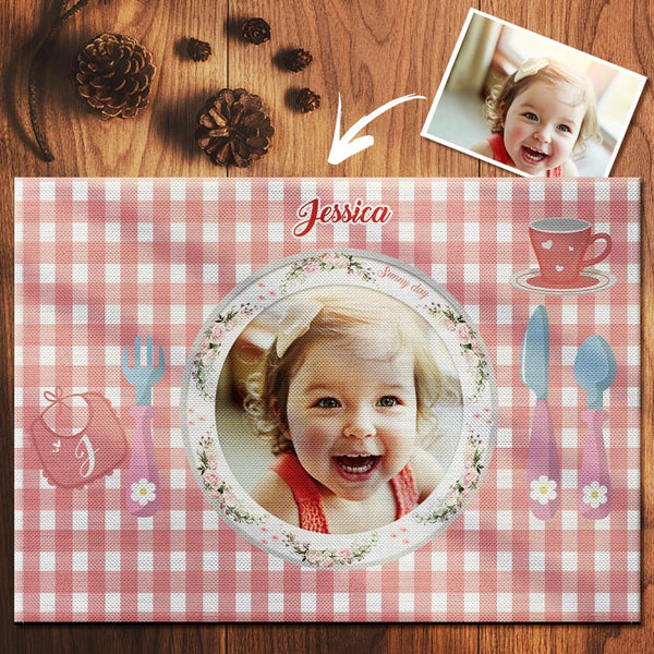 Custom Pink Gingham Photo Placemat With Name - For Girl