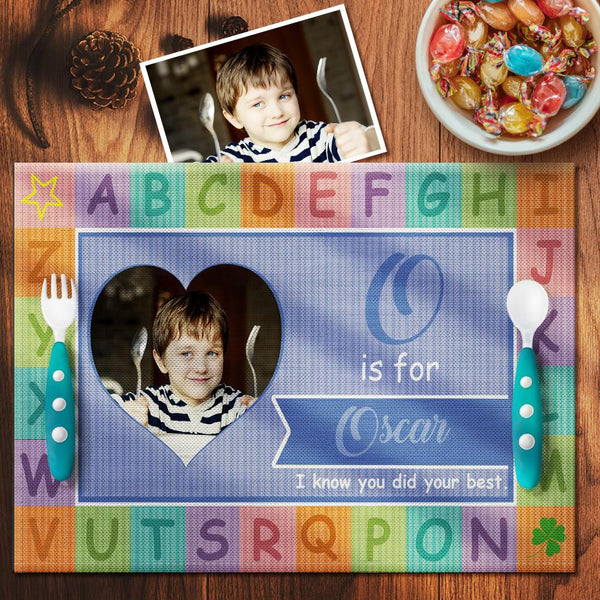 Custom Alphabet Blue Theme Photo Placemat With Text - For Boy
