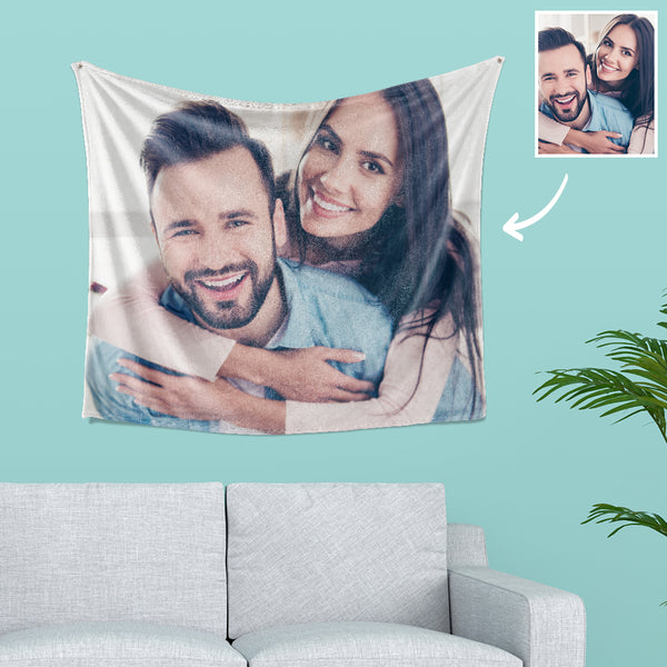 Custom Couple Photo Tapestry Short Plush Wall Decor Fabric Painting