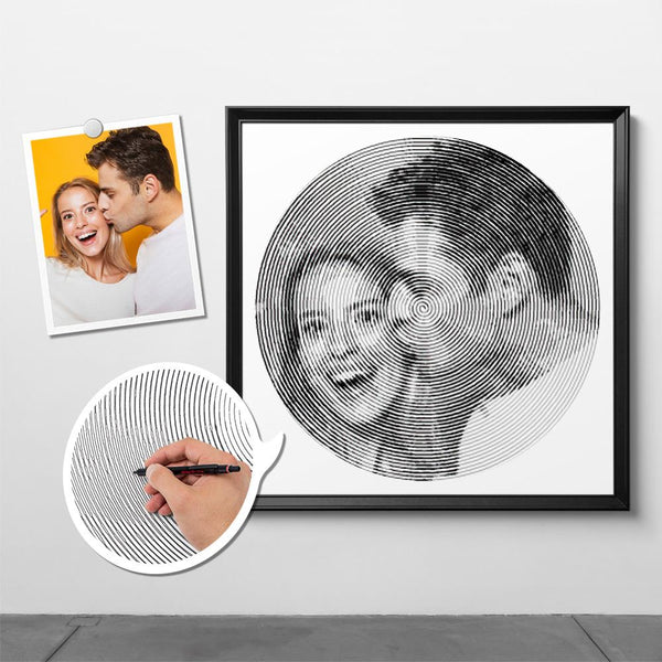 Custom Photo Spiral Painting With Frame - For Couple
