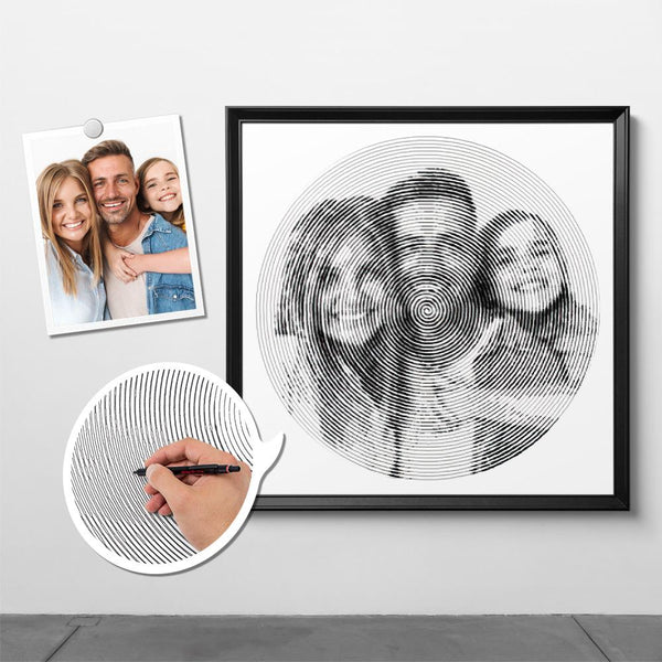 Custom Photo Spiral Painting With Frame - For Family