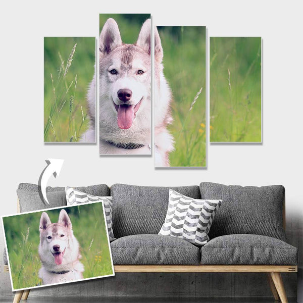 Custom Pet Photo Wall Decor Painting Canvas 4 pieces Without Frame