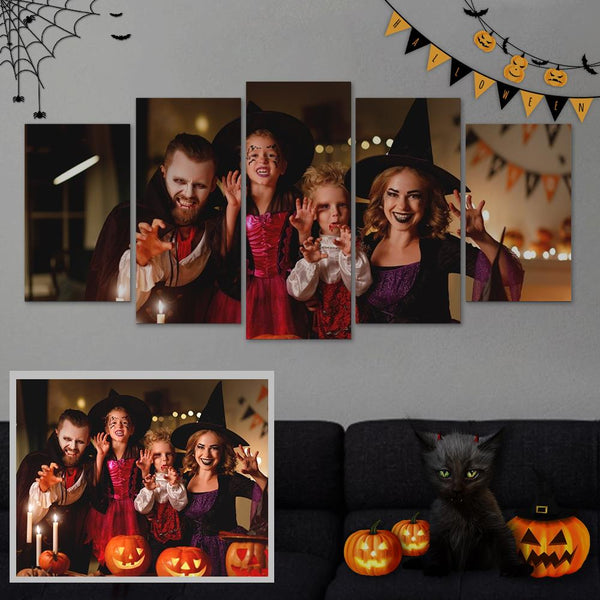 Custom Family Photo Wall Decor Painting Canvas 5 Pieces Without Frame
