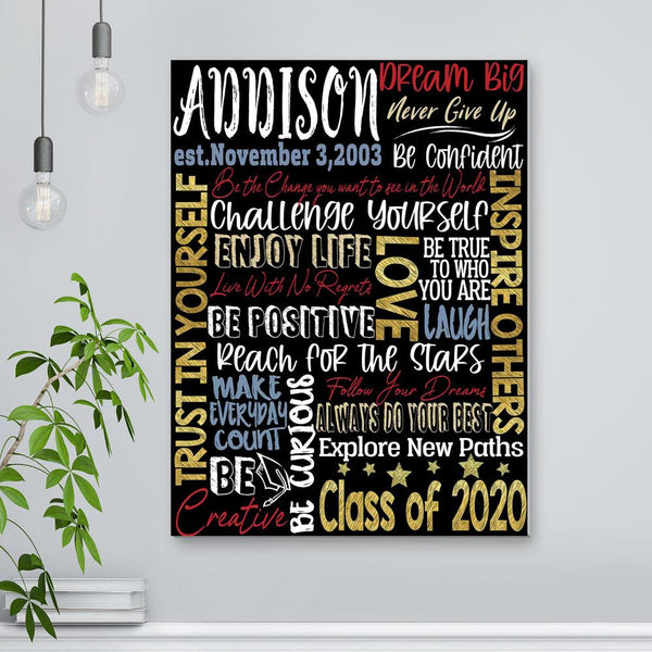 Custom Graduation Wall Decor Painting - Your Name With Birthday Text (12IN X 16IN)