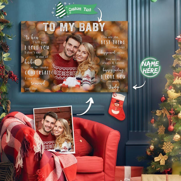 Custom Photo Christmas Tree Wall Decor Painting Canvas With Text - To My Baby