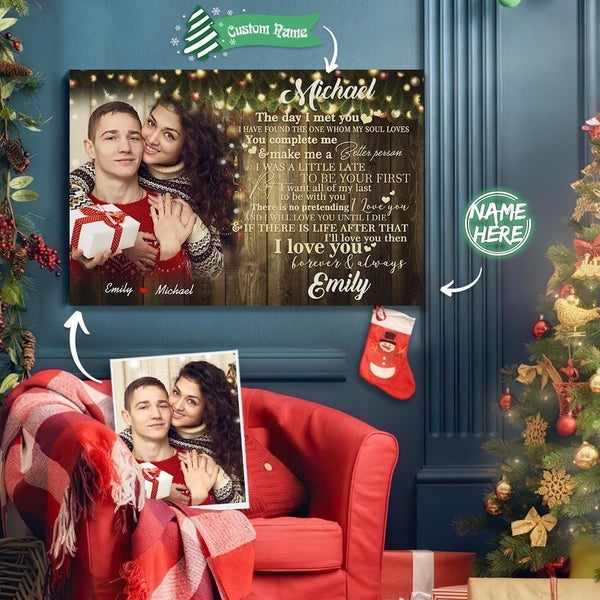 Custom Photo Christmas Tree Wall Decor Painting Canvas With Couple Name