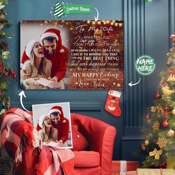 Custom Photo Christmas Tree Wall Decor Painting Canvas With Text Personalized - To Lover