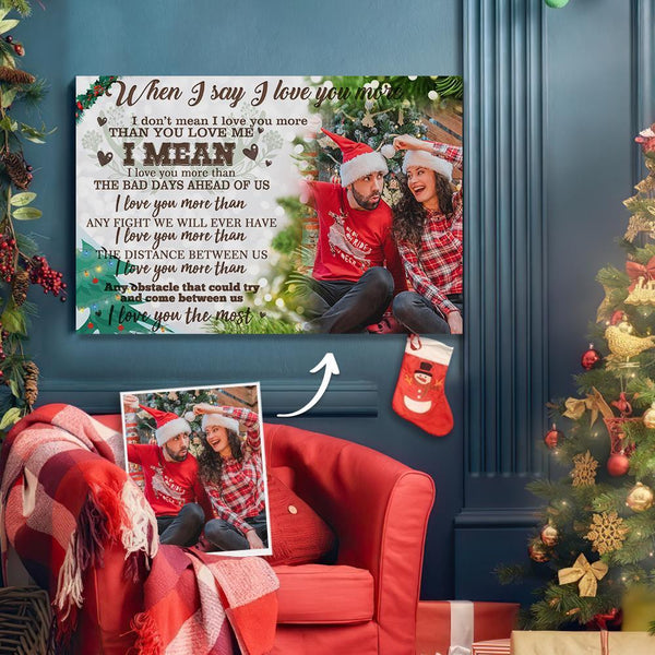 Custom Photo Christmas Tree Wall Decor Painting Canvas - For Couple
