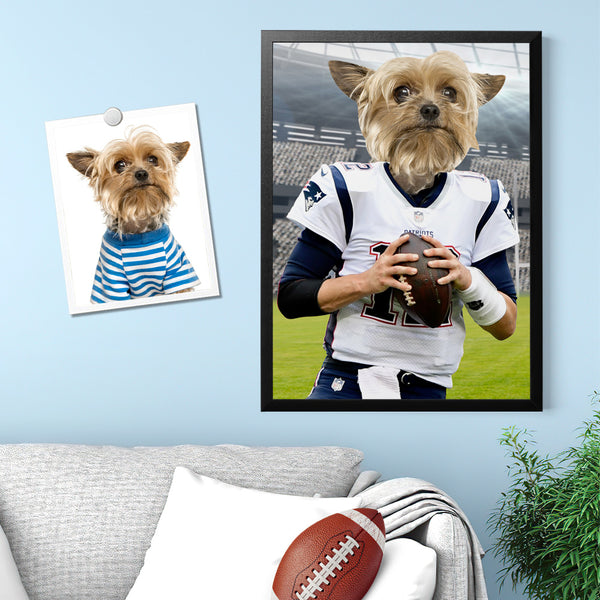 Custom Canvas Painting  - Super Bowl Pet Rugby Player