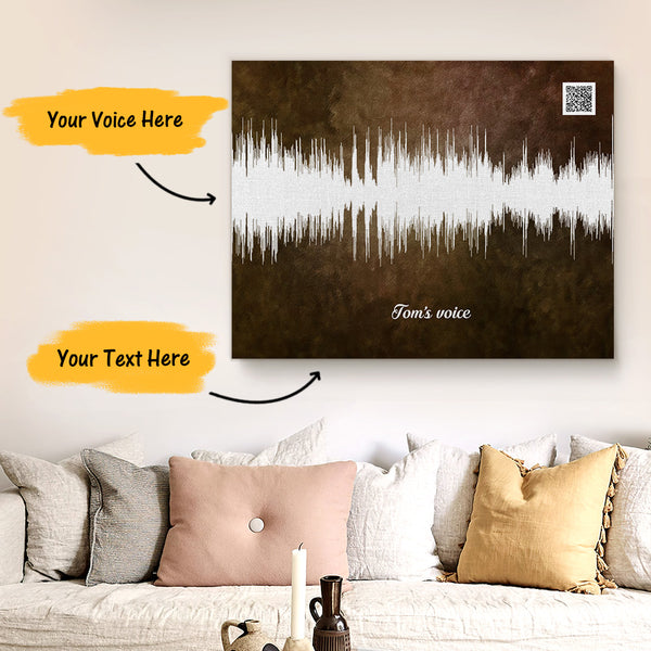 Custom Sound Gifts - Personalised Soundwave Art Print With Text - Mocha