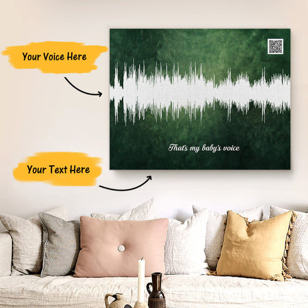Custom Sound Gifts - Personalised Soundwave Art Print With Text - Olive