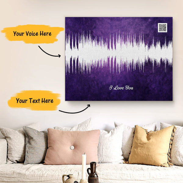 Custom Sound Gifts - Personalised Soundwave Art Print With Text - Plum