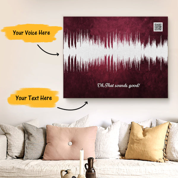 Custom Sound Gifts - Personalised Soundwave Art Print With Text - Crimson