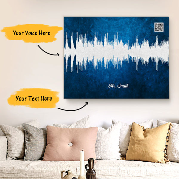 Custom Sound Gifts - Personalised Soundwave Art Print With Text - Sapphire