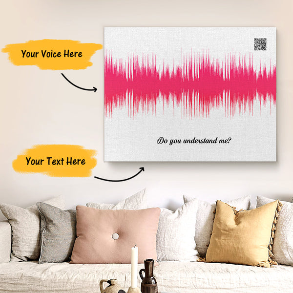 Custom Sound Gifts - Personalised Soundwave Art Print With Text - White