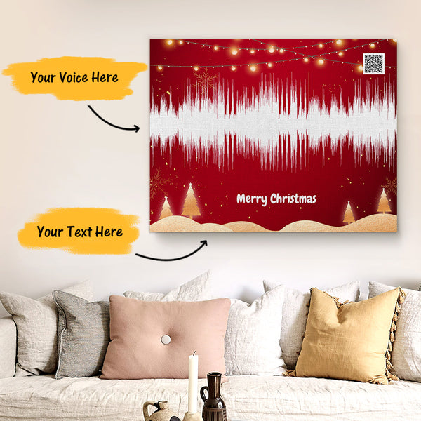 Custom Sound Gifts - Personalised Soundwave Art Print With Text - Christmas