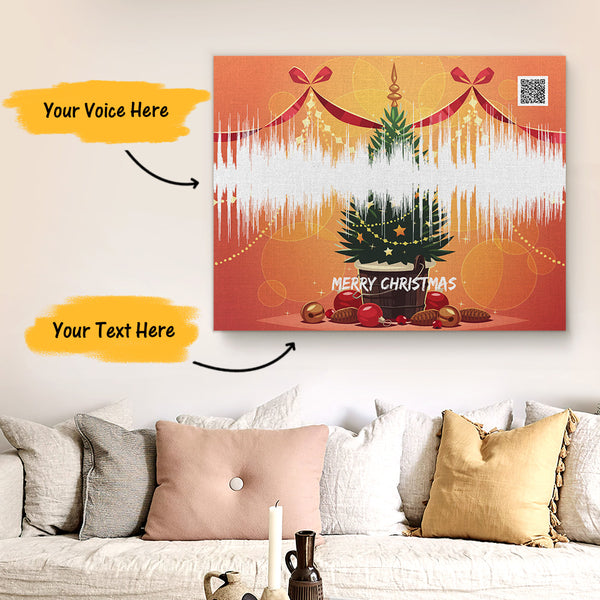 Custom Sound Gifts - Personalised Soundwave Art Print With Text - Christmas Tree