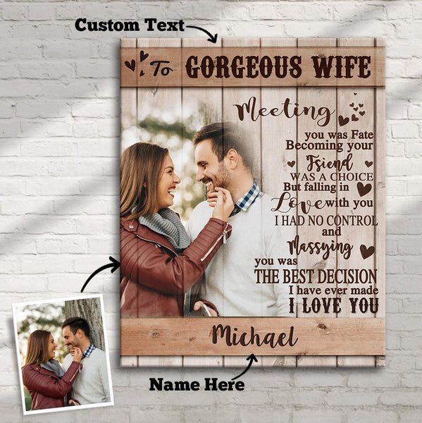 Custom Photo Wall Decor Painting Canvas With Text Vertical Version - To Gorgeous Wife