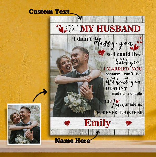 Custom Photo Wall Decor Painting Canvas With Text Vertical Version - To Spouse