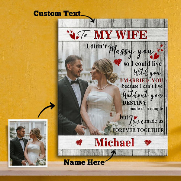 Custom Photo Wall Decor Painting Canvas With Text Vertical Version - To My Wife