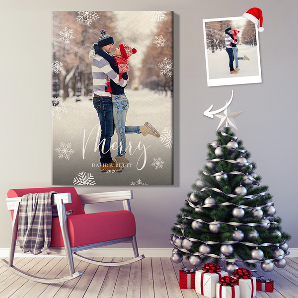 Personalized Merry Snowflakes Wall Decor Painting Canvas With DIY Frame (12in x 18in)