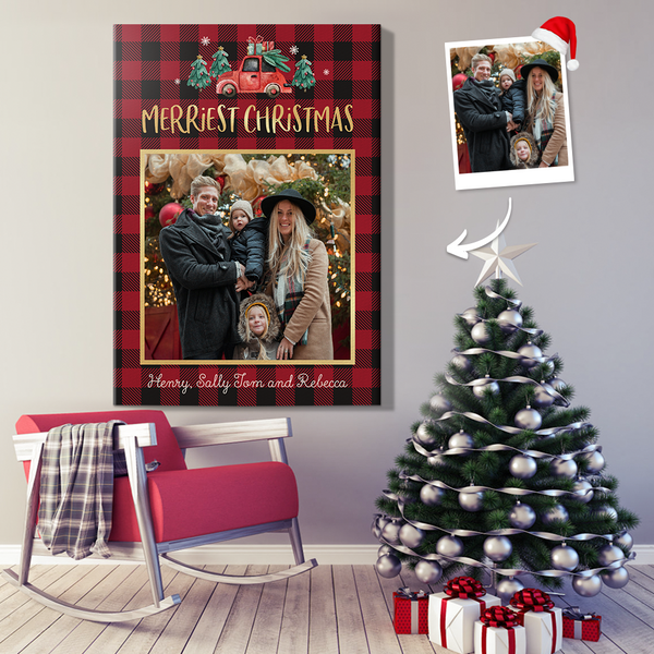 Personalized Yuletide Camper Holiday Wall Decor Painting Canvas With DIY Frame (12in X 18in)