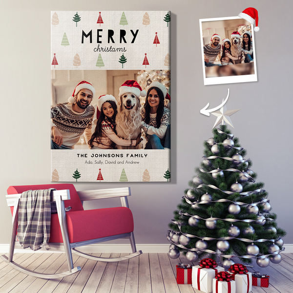 Personalized Christmas Holiday Wall Decor Painting Canvas For Family With DIY Frame (12in x 18in)