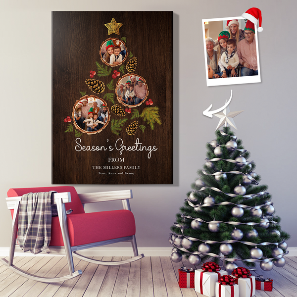 Custom Photos Christmas Wall Decor Painting Canvas With DIY Frame (12in X 18in)
