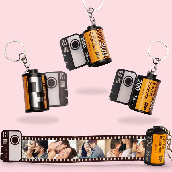 Custom Colorful Camera Roll Keyring - Couple