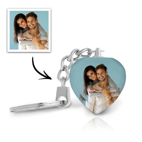 Custom Crystal Photo Keychain - Heart