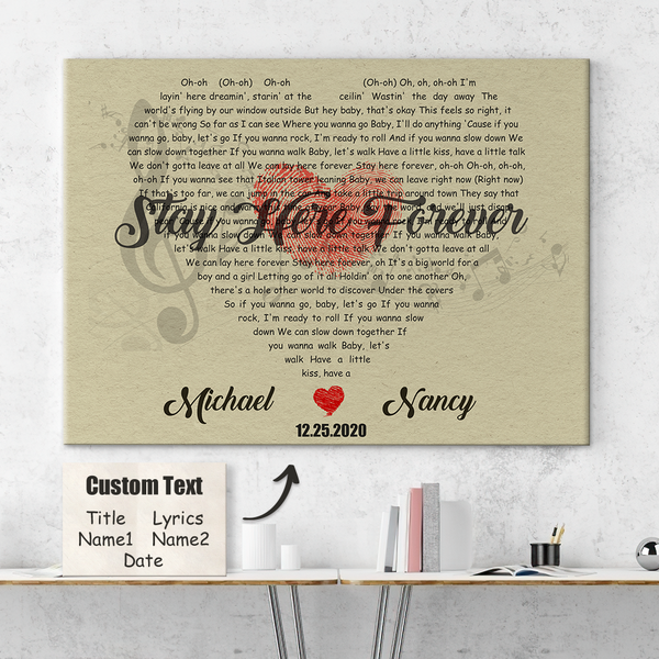 Custom love Heart Shaped Song Lyrics Wall Decor Painting Canvas With Text