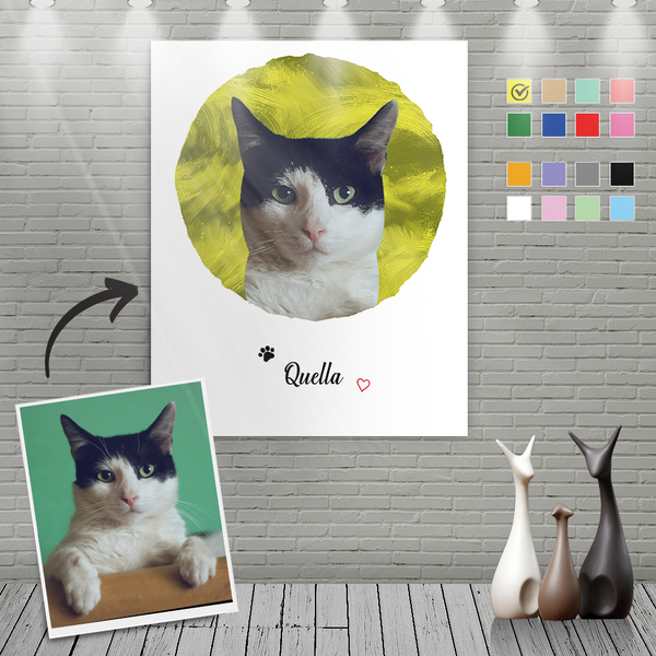 Custom Canvas Painting For Cat Portrait With Name-Circular