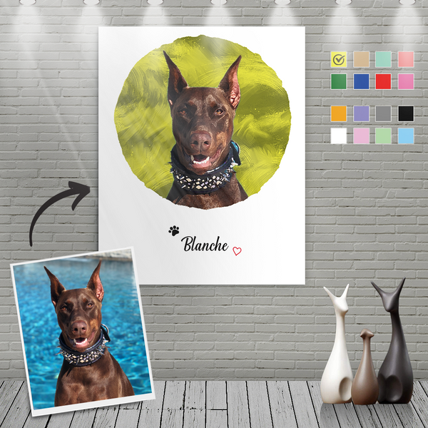 Custom Canvas Painting For Dog Portrait With Name-Circular