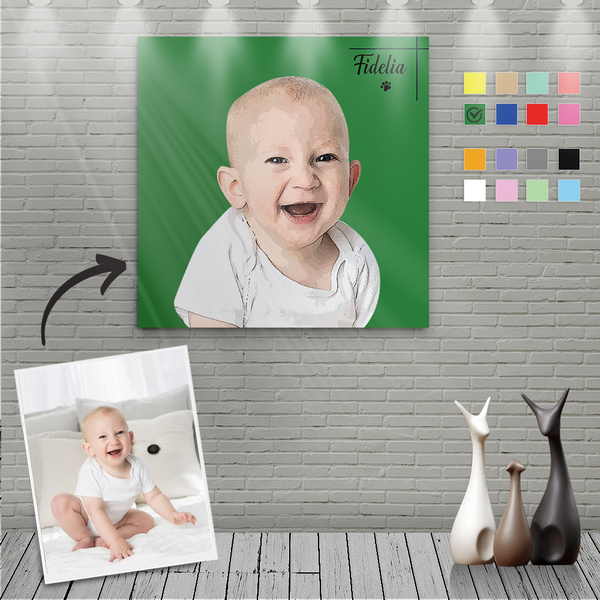 Custom Canvas Painting For Baby Portrait With Name-Square