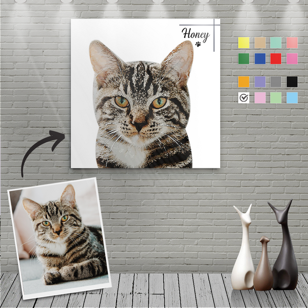 Custom Canvas Painting For Cat Portrait With Name-Square