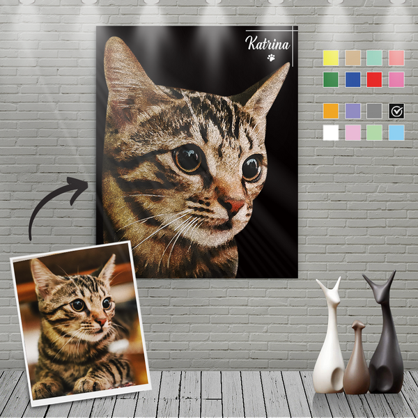 Custom Canvas Painting For Cat Portrait With Name-Vertical Rectangle