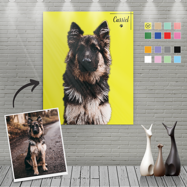 Custom Canvas Painting For Dog Portrait With Name-Vertical Rectangle