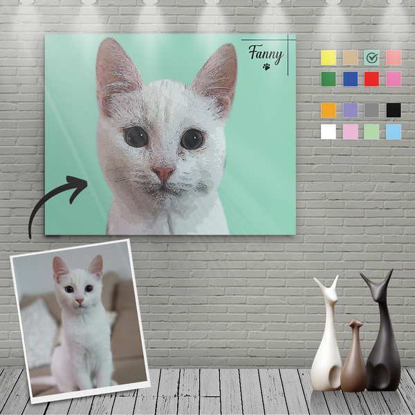 Custom Canvas Painting For Cat Portrait With Name-Horizontal Rectangle
